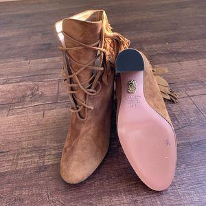Aquazzura Shoes - Aquazzura 9.5M lace up sueded brown ankle hi boots